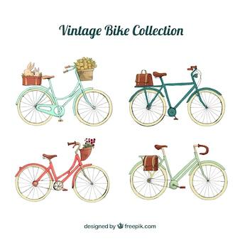 Vintage fietsverzameling met aquarelstijl