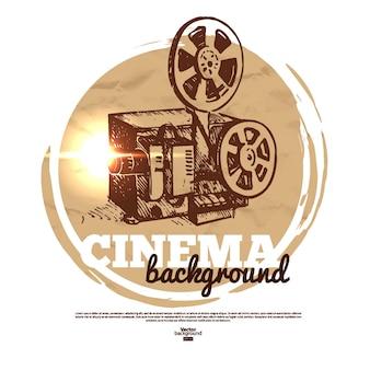 Vintage film bioscoop banner met hand getrokken schets illustratie