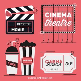 Vintage film elementen in drie kleuren