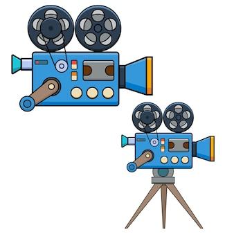 Vintage filmcamera in vlakke stijl geïsoleerd op een witte achtergrond. ontwerpelement voor poster, kaart, banner, flyer.