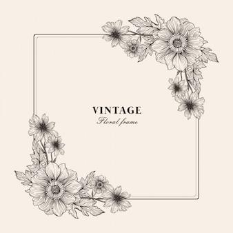 Vintage floral frame achtergrond