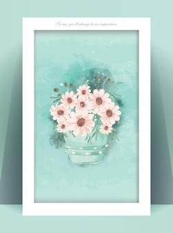 Vintage floral frame in aquarel styl.