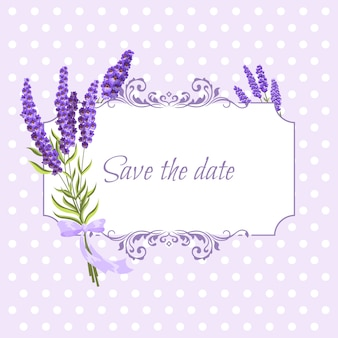 Vintage floral frame met lavendel in provence stijl op stippen
