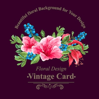 Vintage floral kaart met rozen en wilde bloemen