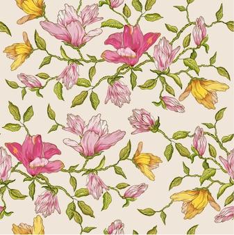 Vintage floral naadloze achtergrond