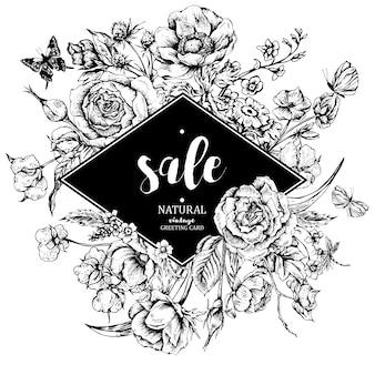 Vintage floral vector verkoop kaart met rozen, anemonen en butterf