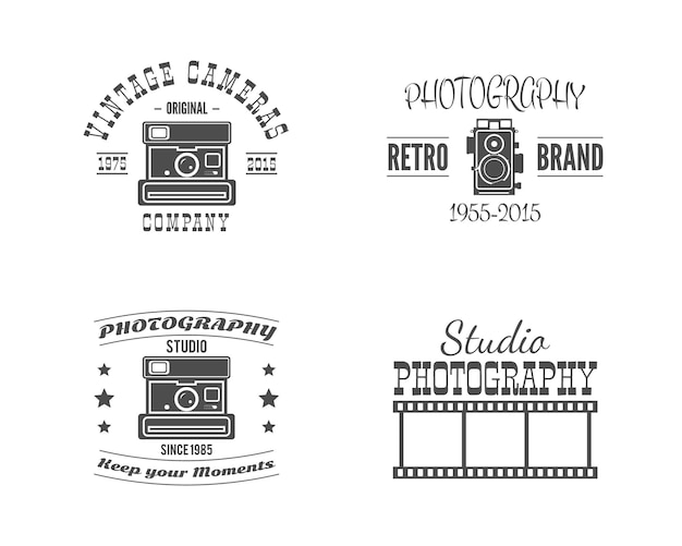 Vintage fotografie badges, etiketten. voorraad vector logo's