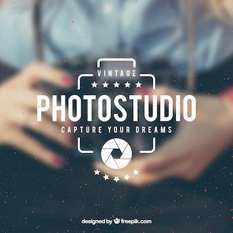 Vintage fotografie logo met fotoachtergrond