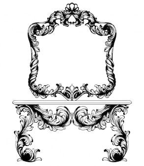 Vintage frame en tabel lijntekeningen
