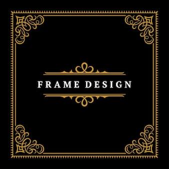 Vintage frame grens ornament en vignetten wervelingen decoratie met scheidingslijn sjabloon vectorillustratie. victoriaanse rand voor wenskaart of huwelijksuitnodiging ander ontwerp en plaats voor tekst. Premium Vector
