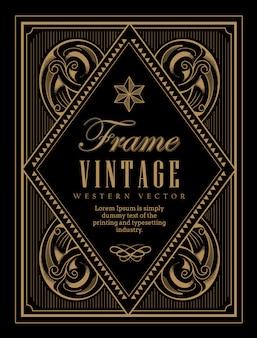 Vintage frame label western retro grens gravure antiek