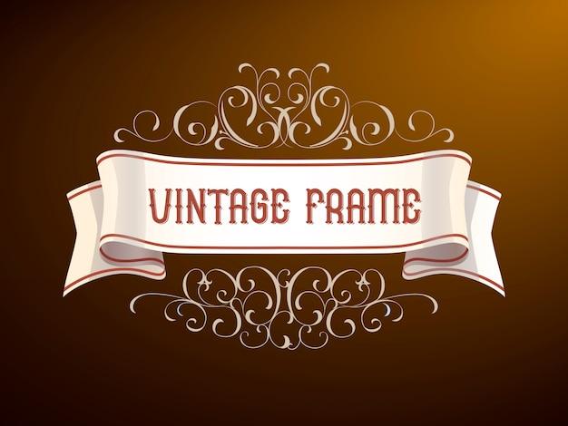 Vintage frame met hand-tekening elementen.
