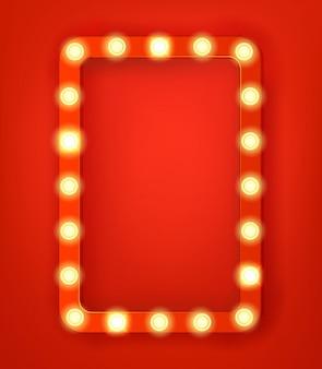Vintage frame met heldere gloeilampen