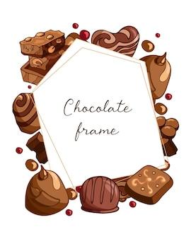 Vintage frame met stukjes melkchocolade met noten en chocolaatjes, snoepillustratie. wereld chocolade dag. vector achtergrondontwerp. sjabloon voor de kaarten, uitnodigingen, verpakking, menu.