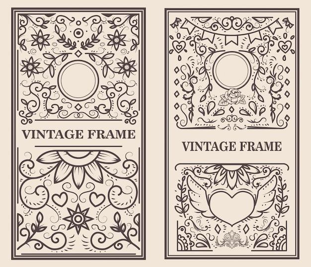 Vintage frame op lichte achtergrond. element