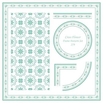 Vintage frame patroon set cross flower caleidoscoop