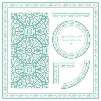Vintage frame patroon set ronde cross blad geometrie ketting