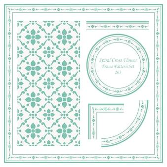Vintage frame patroon set spiraal cross flower