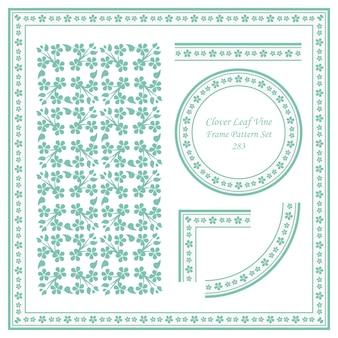 Vintage frame patroon set van cross clover leaf vine