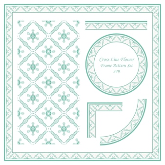 Vintage frame patroon set van cross line flower