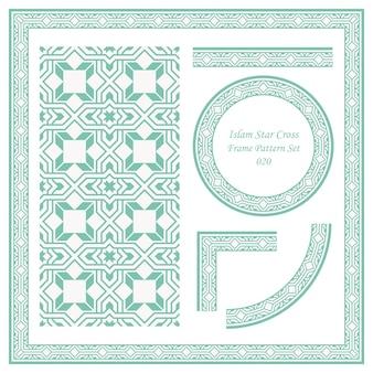 Vintage frame patroon set van islam star cross square geometrie