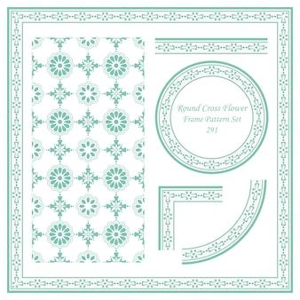 Vintage frame patroon set van ronde cross flower