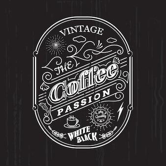 Vintage frame rand koffie labelontwerp badge elementen vector