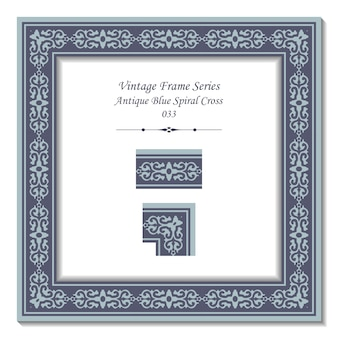 Vintage frame van antiek blauw spiraalkruis