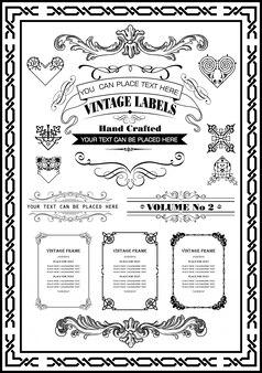 Vintage frames randen collectie zwarte kleur