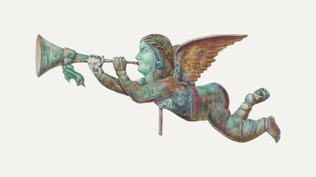Vintage gabriel windwijzer vectorillustratie, geremixt van het kunstwerk van harriette gale