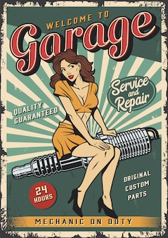 Vintage garage service poster sjabloon met pin-up girl