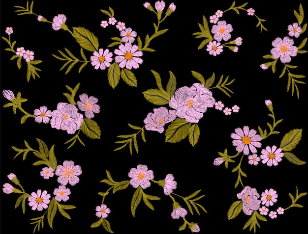 Vintage geborduurd behang bloem ornament.