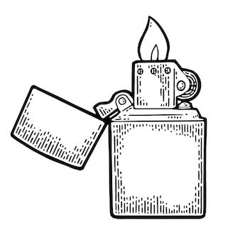 Vintage gegraveerde aansteker open illustratie geïsoleerd