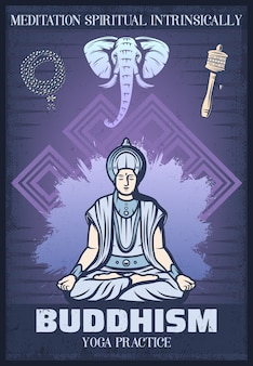 Vintage gekleurde boeddhisme religie poster met boeddhistische zittend in meditatie religieuze rozenkrans kralen olifant tibetaanse gebedsmolen
