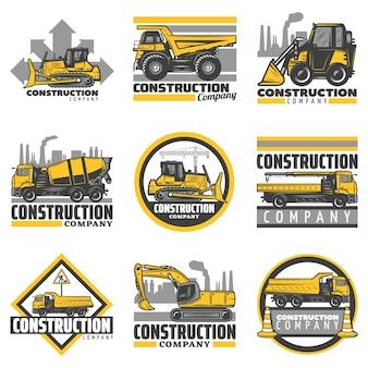 Vintage gekleurde bouwvoertuigen emblemen set met bulldozer graafmachine betonmixer dump bouwvrachtwagens geïsoleerd