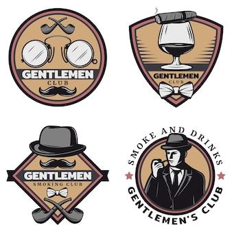 Vintage gekleurde gentleman emblemen set