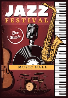 Vintage gekleurde jazzmuziek poster
