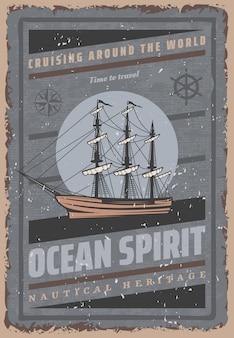 Vintage gekleurde maritieme poster met inscriptie groot schip stuurwiel kompas