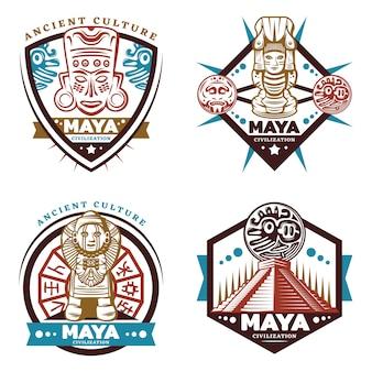 Vintage gekleurde maya beschaving emblemen instellen