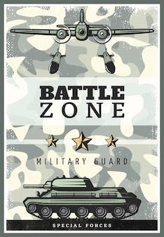 Vintage gekleurde militaire poster