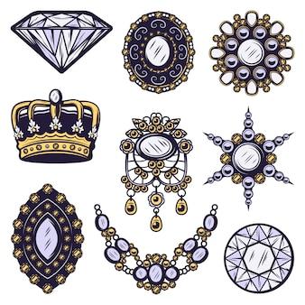 Vintage gekleurde sieraden elementen instellen
