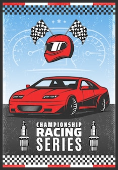 Vintage gekleurde sportwagen racen poster met inscriptie snelle auto gekruiste finish vlaggen helm bougies