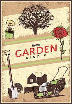 Vintage gekleurde tuinieren poster