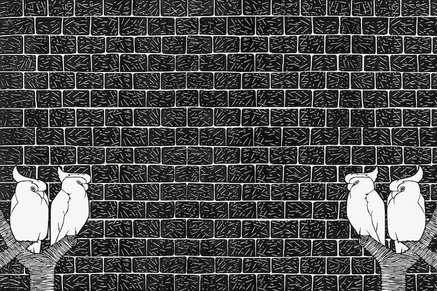 Vintage gekroonde kaketoes dierlijke kunst print op bakstenen muur, remix van kunstwerken van samuel jessurun de mesquita