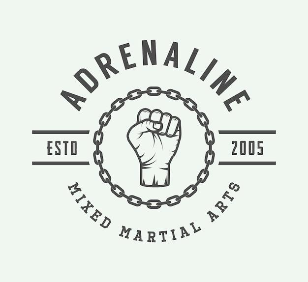 Vintage gemengd martial art-logo
