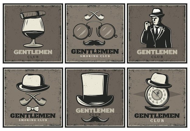 Vintage gentleman club-brochures