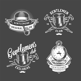 Vintage gentleman logo's set