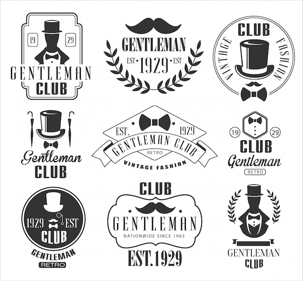 Vintage gentlemen club logo's set