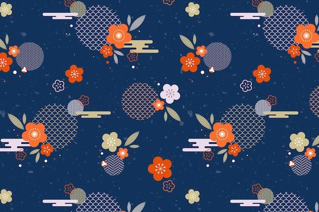 Vintage geometrische pruim bloesem patroon Gratis Vector