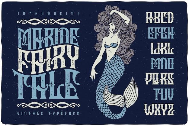 Vintage getextureerde lettertype met zeemeermin illustratie